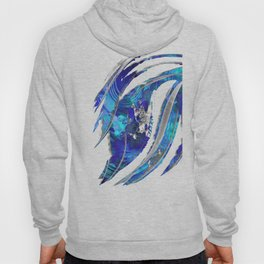 Blue and White Abstract Art - Flowing 2 - Sharon Cummings Hoody