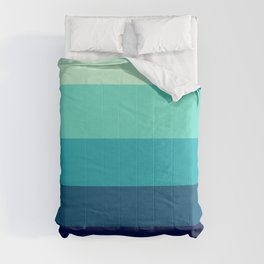 Tropical Teal Stripe Pattern Comforters