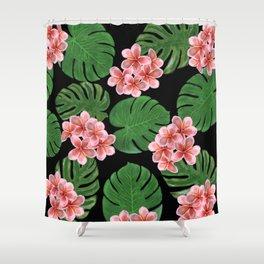 Tropical Floral Print Black Shower Curtain