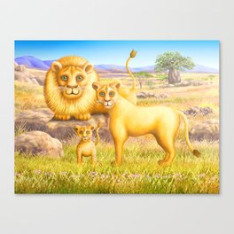 Lion, Lioness and Cub Canvas Print