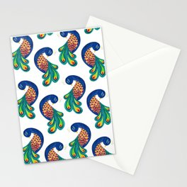 Peacock folk art Stationery Cards