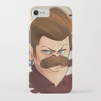 swanson iPhone & iPod Cases featuring Ron Swanson by nachodraws
