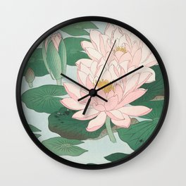 Water Lilies - Japanese vintage woodblock print Wall Clock