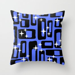 Retro Mid Century Modern Abstract Pattern 581 Black and Blue Throw Pillow
