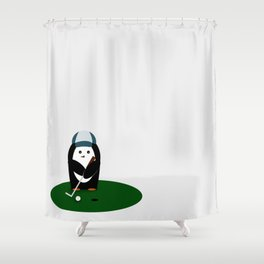 Putting Penguin Shower Curtain