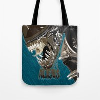 aliens Tote Bags featuring Aliens by OzoneO3