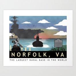 Norfolk, VA - Retro Submarine Travel Poster Art Print