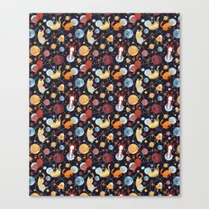 Cat astronaut seamless pattern Canvas Print