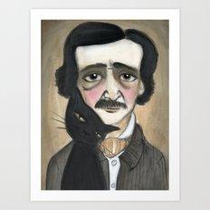 Edgar Allan Poe and the Black Cat Art Print