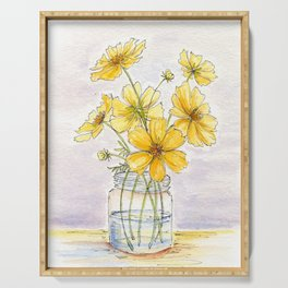Yellow Cosmos, Still Life Serving Tray