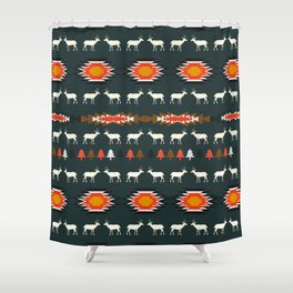 Ethnic deer pattern with Christmas trees Shower Curtain