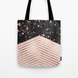 Luxury Rose Gold Pink Black Chevron Paint Splatter Tote Bag