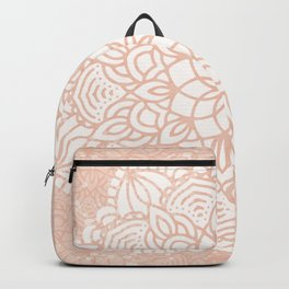 Seashell Mandala Coral Pink and White by Nature Magick Backpack