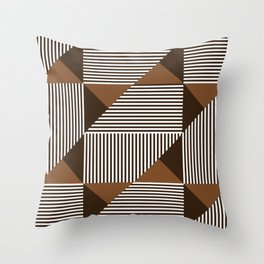 Coffee Brown Geometric Shapes Throw Pillow