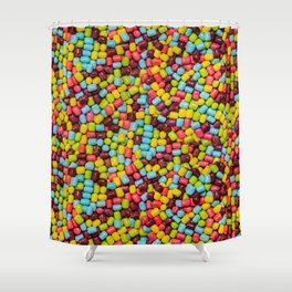 Cotton Candy Marshmallow Candies Pattern Shower Curtain
