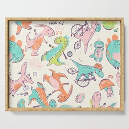 Cute Dino Friends Doodle Serving Tray