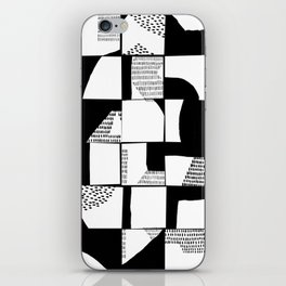 Black and White Typographical Fragmentation Cheater Quilt iPhone Skin