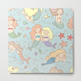 Cute Vintage Style Bff Mermaids Seamless Pattern, Blue Metal Print