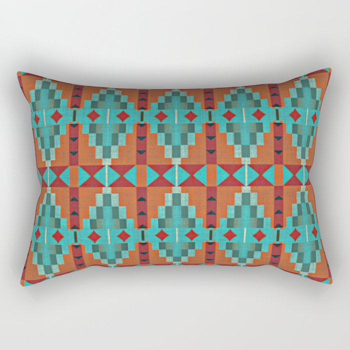 Orange Red Aqua Turquoise Teal Native Mosaic Pattern Rectangular Pillow