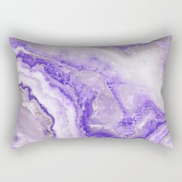 Ultra Violet and Gray Marble Agate Quartz Rectangular Pillow