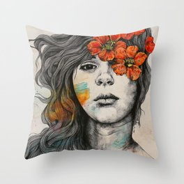 Softly Spoken Agony | flower girl pencil portrait Throw Pillow
