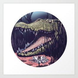 Crocodile Moon Art Print