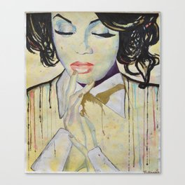 Colourful dripping ink portrait Canvas Print