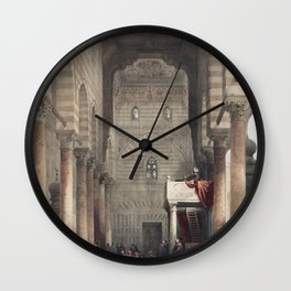 Interior of the mosque of the Metwalys (Metwalis) illustration by David Roberts copy 4 Wall Clock