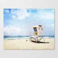 California Beach Photography, Lifeguard Stack Shack San Diego, Coastal Photograph Canvas Print