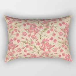 Floral pattern on beige background Rectangular Pillow