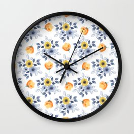 Elegant blue orange yellow watercolor hand painted floral Wall Clock