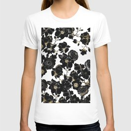 Modern Elegant Black White and Gold Floral Pattern T-Shirt