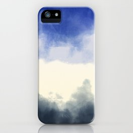 Abstract watercolor navy blue gray ivory ombre iPhone Case