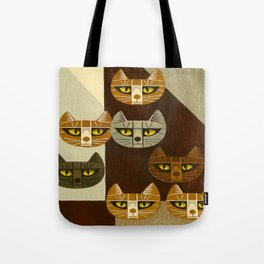 Cat Pattern Japanese, Cat, Cubism, Woodblock Print, Cherry Blossom, Midcentury, Modern Tote Bag