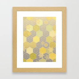 Lemon & Grey Honeycomb Framed Art Print
