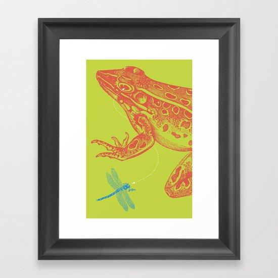 Frog vs. Dragonfly Framed Art Print