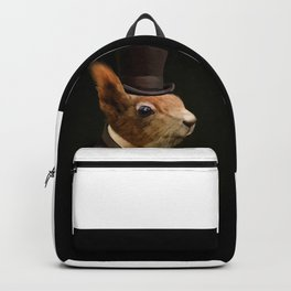 Sophisticated Pet -- Squirrel in Top Hat with glass of wine Backpack