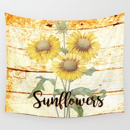 Country Sunflowers on wood Wall Tapestry