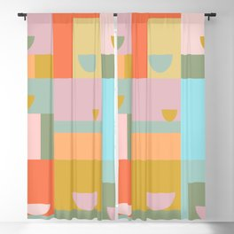 Geometric Squares and Shapes in Earthy Pastels Blackout Curtain