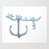 sam smith Art Prints featuring Sam Little Sailor by Annette Jimerson