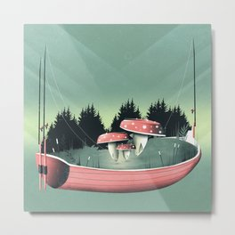 Fishing for Mushrooms Metal Print