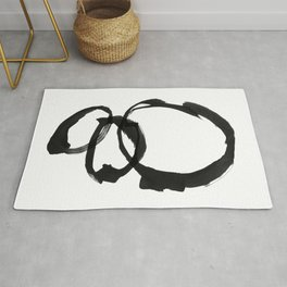 Black and White Round Abstract Shapes Minimalist Ink Painting Rug