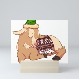 Sleeping Christmas Sweater Goat Mini Art Print