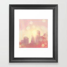 City of Lights. downtown Los Angeles skyline photograph Framed Art Print
