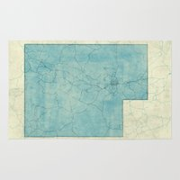 utah Area & Throw Rugs featuring Utah State Map Blue Vintage by City Art Posters