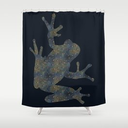 Blue-green doted frog Shower Curtain