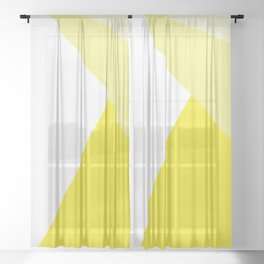 Simple Geometric Triangle Pattern - White on Yellow - Mix & Match with Simplicity of life Sheer Curtain