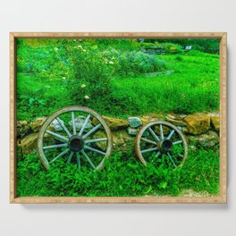 Old wagon wheels Serving Tray