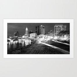 Columbus Ohio Skyline Panorama Along the Scioto Mile in Black and White Art Print