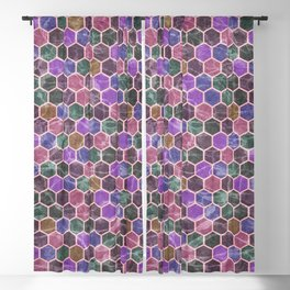 Colorful Hexagon Seamless Pattern #02 Blackout Curtain